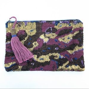 Anthro Miss Albright Boho Bead Embroidered Clutch